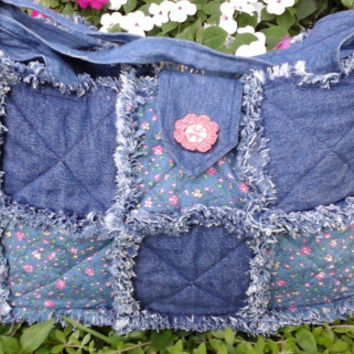 Denim rag purse, handmade purse, denim purse, floral purse, denim purse, tote, purse, handmade