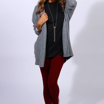 By the Fireplace Knit Cardigan Heather Grey