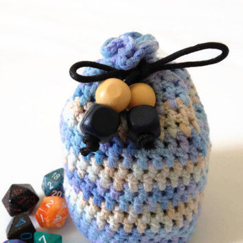Large Dice Bag, Baby Blue Coin Purse, Blue and Cream Crochet Bag, Hand Knitted Drawstring Bag