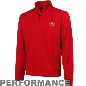 Cutter & Buck San Francisco 49ers Logo DryTec Edge Performance Quarter Zip Pullover Jacket - Scarlet