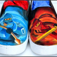Ninjago Shoes, Boys Shoes, Painted Shoes for Boys, Jay & Kai, Ninjago, Painted Ninjago Shoes, Unique Gift For Boys, Boy Gift, Boys Shoes