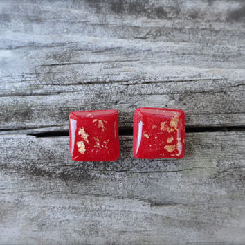 Resin Earrings, Polymer Clay Jewelry, Clay Earrings, Square Earrings, Red and Gold, Modern Earrings, Gold Foil, Christmas, Stocking Stuffer