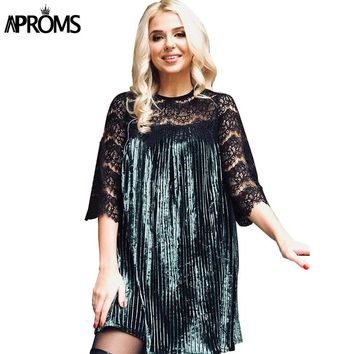 Aproms French Lace Patchwork Velvet Pleated Dress Women Casual Half Sleeve Tunic Shirt Dresses Big Size Office OL Dress Vestidos