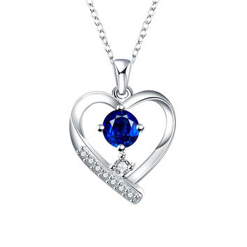 Tiffany Inspired Mock Sapphire Hollow Hearts Necklace
