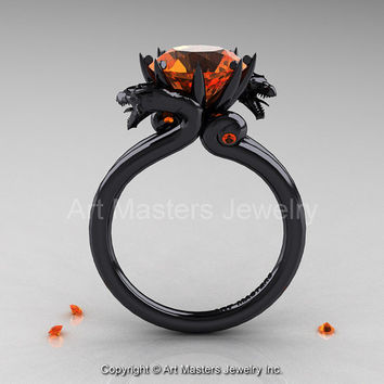 Art Masters Scandinavian 14K Black Gold 3.0 Ct Orange Sapphire Dragon Engagement Ring R601-14KBGOS