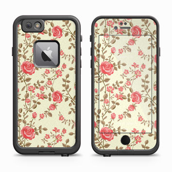 Red Rose Green Vines Skin for the Apple iPhone LifeProof Fre Case