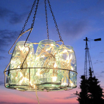 Antique Lights Mason Jar Chandelier 6 Blue QUART by treasureagain
