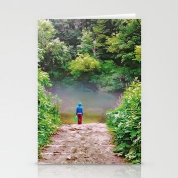 Bucket Explorer at the Creek Stationery Cards by Heidi Haakenson