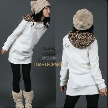 Women's Autumn Hoodies Leopard Sweatshirt Top Outerwear Parka Coats 3283
