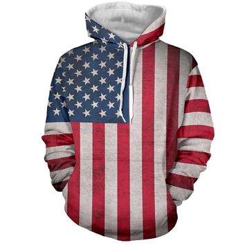 American Flag All Over Print Hoodie Sweater