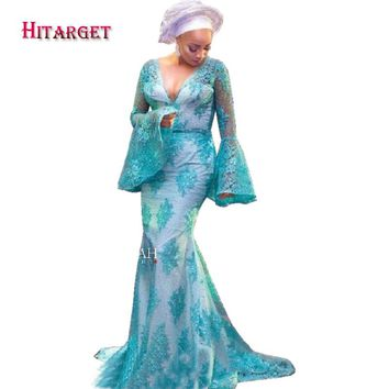 Hitarget 2017 African Fashion Long Speaker Sleeve Lace Dresses for Women African Lace Party Floor-Length Dress Clothing WY2267