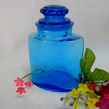 Blue glass canister jar deep blue Italian glass oval shape jar
