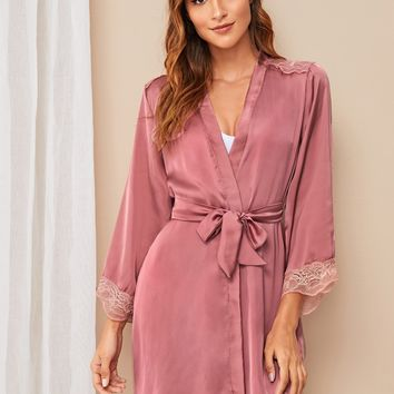 Floral Lace Trim Satin Belted Robe