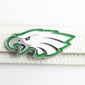 New Arrival Football Slide Charms 8mm Alloy With Enamel Philadelphia Eagles Slide Charms Fit DIY Necklace & Bracelet 20pcs/lot