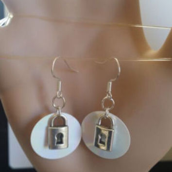padlock charm earrings white sequin circles silver steampunk jewelry