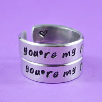 [♡043] you're my person - Hand Stamped Aluminum Cuff Rings Set, Grey's Anatomy Inspired, Love And Friendship Ring,  Best Friends Gift