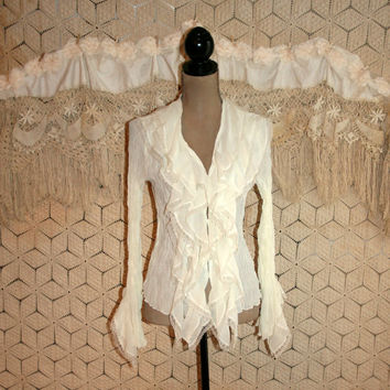White Lacy Ruffle Poet Blouse Hippie Boho Bohemian Romantic Chiffon White Top White Blouse White Shirt Size 2 Size 4 XS Small Women Clothing