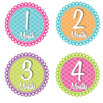 Monthly Onesuit Stickers Baby Girl Baby Month Stickers Pink Green Blue Orange Monthly Onesuit Stickers Baby Shower Gift Photo Prop Sammie2