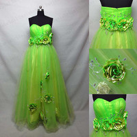 Empire waist Green Tulle Flowers Maternity Prom Dress 2015,A Line Sweetheart Beaded Long Prom Ball Gown,Pregnant Women Dress,evening dress