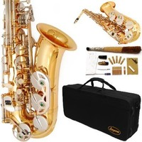 Lazarro 360-LN E-Flat Eb Alto Saxophone Gold-Silver Keys with Case, 11 Reeds, Care Kit and Many Extras