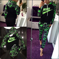 Nike Fashion Camouflage Drawstring Sport Top Pants Set Two-Piece Sportswear