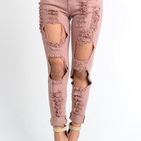Linda Blush Denim Distressed Jeans