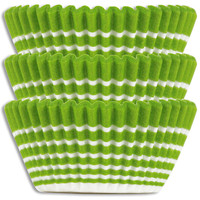 Lime Green Ring Stripe Baking Cups