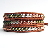 Wrap Bracelet, Leather and Bead, Metallic Beads, Silver, Brass, Copper