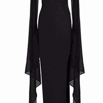 Bel Air Bombshell Black Batwing Mesh Long Sleeves Scoop Neck Bodycon Bandage Maxi Dress