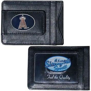 Los Angeles Angels of Anaheim MLB Team Leather Card Holder Money Clip Wallet