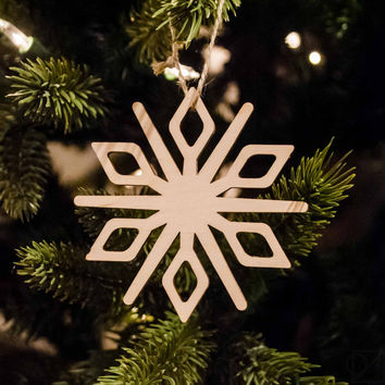 Wooden Snowflake Ornament Crystal