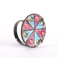 Copper handmade enamel metal ring original designer's women's jewelry fine gift
