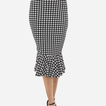 Streetstyle  Casual Houndstooth Ruffled Hem Graceful Midi-skirt