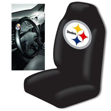 Pittsburgh Steelers NFL Car Seat Cover and Steering Wheel Cover Set