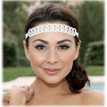 Wedding hair accessory, bridal headband, Bridal hair accessory, Swarovski rhinestone Crystal grecian headband, ribbon Sash, bridal sash