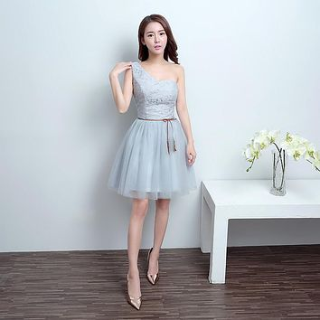One Shoulder Sexy Sweetheart Fast Delivery Double Layer Pattern Draped Tulle Formal  Dress for Bridesmaid Silver Grey C129LF831D