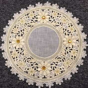 """6 Pieces 14"""" Embroidered Handmade Jeweled Cutwork Doily Doilies - Beige Gold"""