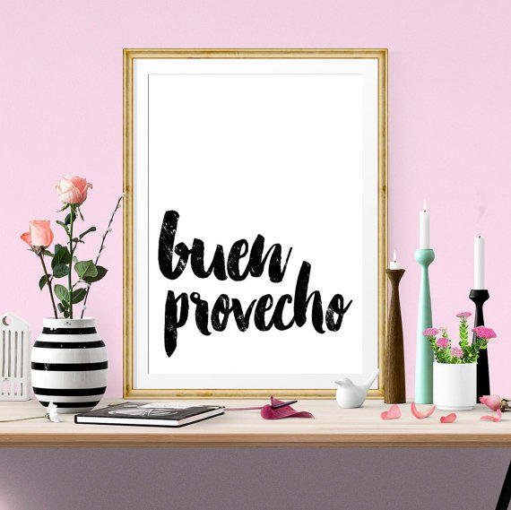 Kitchen Signs In Spanish: Buen Provecho Quote,Spanish Art,Kitchen From FowerDesign On Etsy