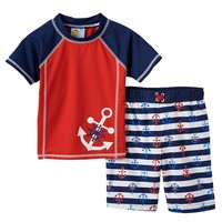 Baby Buns Anchors Away 2-pc. Rash Guard & Swim Trunks Set - Toddler Boy