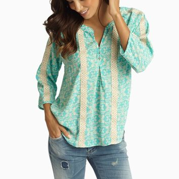 Aqua Beige Damask Embroidered Accent 3/4 Sleeve Blouse