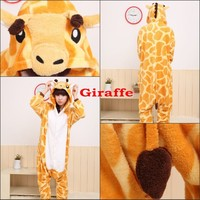 New Kigurumi Pajamas Unisex Adult Cosplay Costume Animal Onesuit giraffe S-M-L-XL