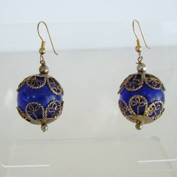Cobalt Blue Glass Caged Earrings Antiqued Silvertone Vintage Jewelry