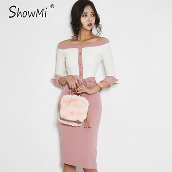 ShowMi Korean Fashion Spring Dress Women 2017 Ladies Back Split Buttons Bow Pink Sexy Off Shoulder Bodycon Pencil Party Dresses
