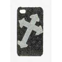 Blazin Roxx ™Silver Cross Bling iPhone 4 Cell Phone Cover
