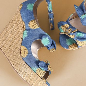 Qupid Pineapple Print Bow Ankle Strap Wedge
