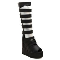 Peep Toed Boots With Cut Out and Platform Shoes