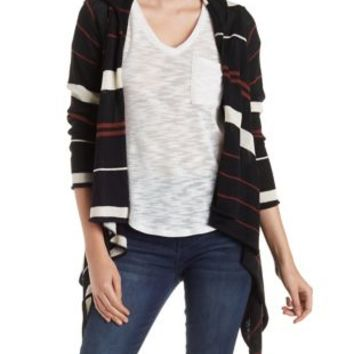 Hooded Striped Cascade Cardigan with Pockets