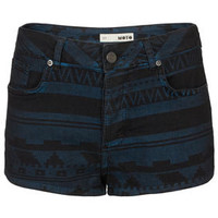 MOTO Navy Aztec Hotpants - Shorts  - Clothing