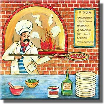 Pizza Maker Shop Picture on Stretched Canvas, Wall Art Decor, Ready to Hang!