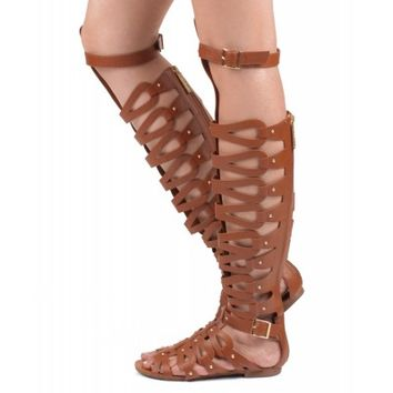Women Leatherette Strappy Open Toe Gladiator Sandals TAN